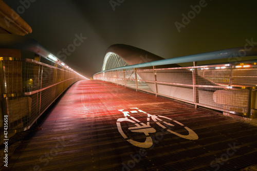 Fototapeta Modern footbridge Bernatka, Krakow, Poland, Europe obraz