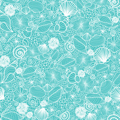 FototapetaVector blue seashells line art seamless pattern background with