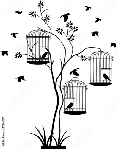Staande foto Vogels in kooien illustration silhouette of birds flying and bird in the cage