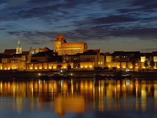 Fototapeta Night view of Torun, Poland.