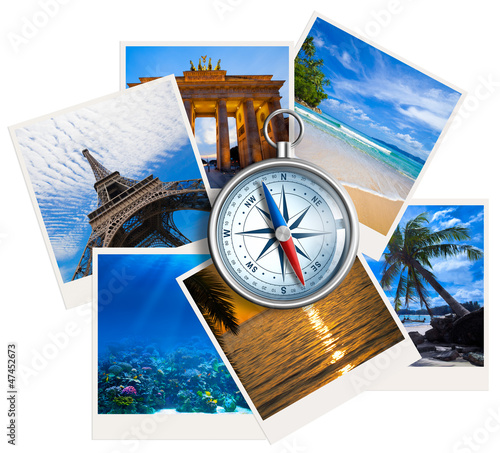 Photo  Traveling photos collage with compass on white background