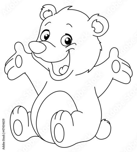 Türaufkleber Zum Malen Outlined happy teddy bear