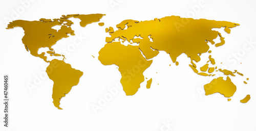 Deurstickers Wereldkaart world map golden