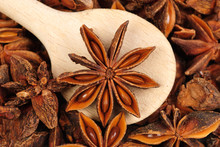 Fresh Anise-star With  Wooden  Spoon, Nature Spice  Background