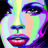Girl's Portrait Psychedelic Rainbow-Viso Ragazza Psychedelico