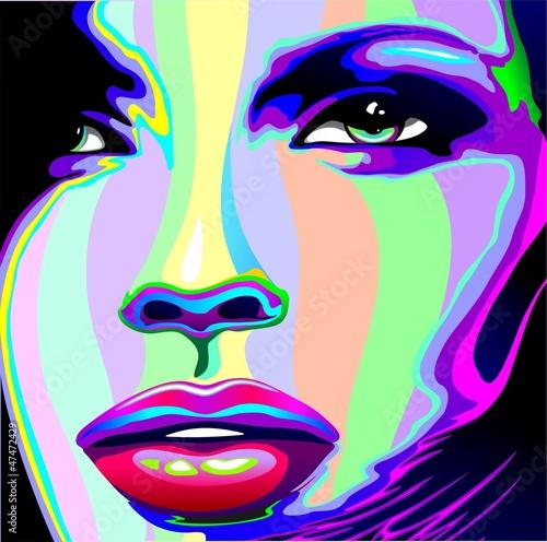 Papiers peints Pop Art Girl's Portrait Psychedelic Rainbow-Viso Ragazza Psychedelico