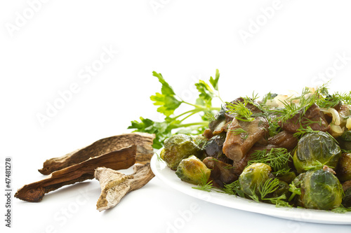 Foto op Canvas Brussel roasted brussels sprouts and mushrooms