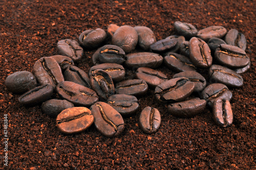 Canvas Prints Coffee beans Café moulu et en grains