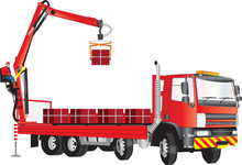 A Red Truck With Operator On C...