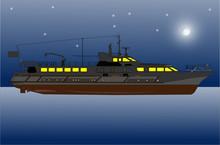 речная яхта ночью