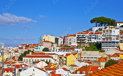 Canvas Print Lisbon panorama, Portugal. Buildings