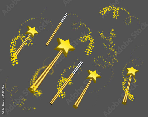 Fotografie, Obraz  Magic wand vector set