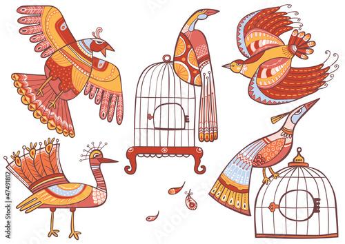 In de dag Vogels in kooien Fairy-tale birds set