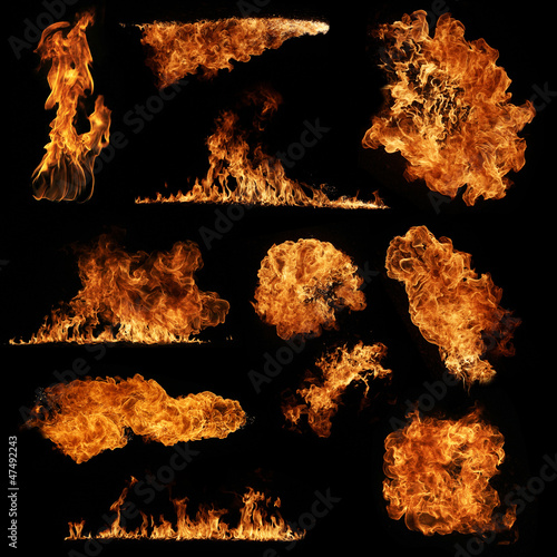 Fotobehang Vuur High resolution fire collection isolated on black background