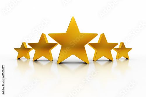 Photographie  Cinq étoiles avec des reflets sur blanc représentant l'excellence