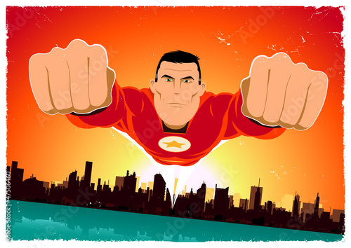 Ingelijste posters Superheroes It's A Bird ! - Flying Super Hero