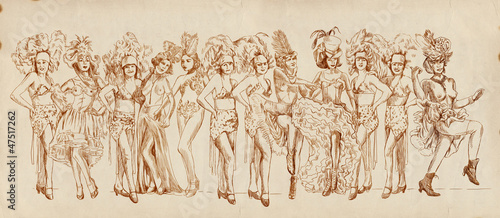In de dag Art Studio Cancan dancers - Retro image with lots of show girls