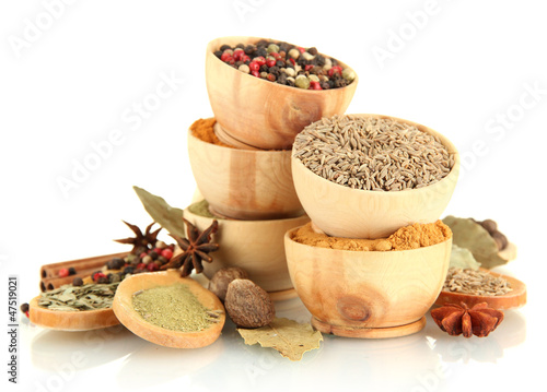 Printed kitchen splashbacks Herbs 2 wooden bowls and spoons with spices isolated on white