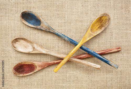 Fotografering  rustic wooden spoons