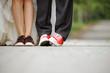 Newlyweds' Legs in Sneakers