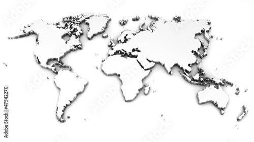 Keuken foto achterwand Wereldkaart detailed world map