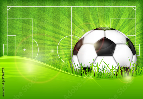 fototapeta na lodówkę Ball on green field background