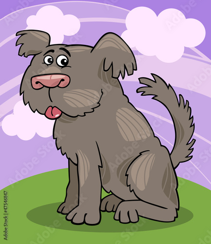 Poster Dogs Sheepdog shaggy dog cartoon illustration