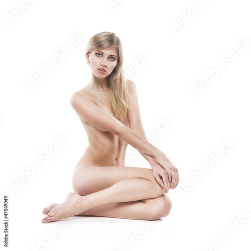 beautiful nude woman on white background