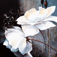 Panel Szklany Podświetlane Róże Weisse Blumen