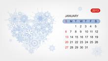 Vector Calendar 2013, January. Art Heart Design