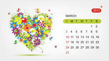 Vector Calendar 2013, March. A...