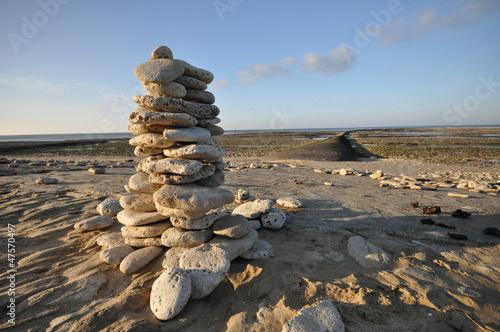 Poster Zen pierres a sable Tas de pierres