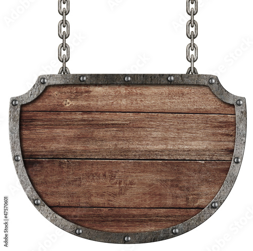 medieval signboard hanging on chains isolated on white Tableau sur Toile