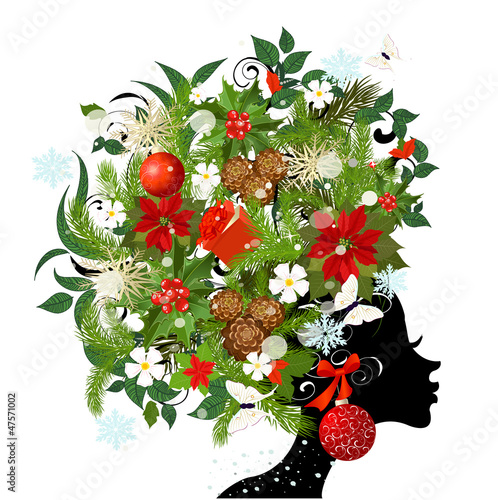 Fotobehang Bloemen vrouw Fashionable girl with Christmas hairstyle for your design