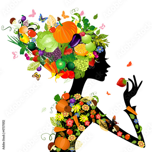 Poster Bloemen vrouw Fashion girl with hair from fruits for your design