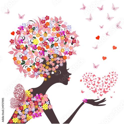 Fotobehang Bloemen vrouw fashion flowers girl with a heart of butterflies