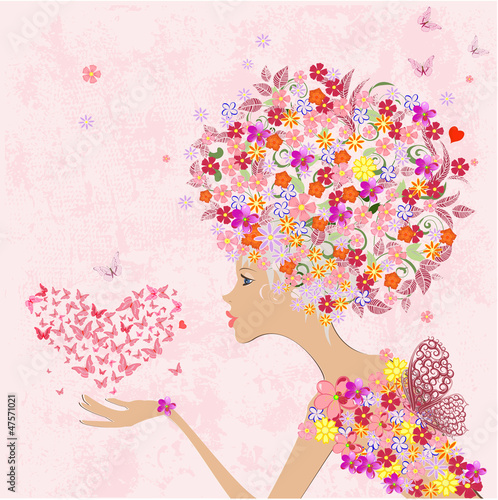 Poster Bloemen vrouw fashion flowers girl with a heart of butterflies