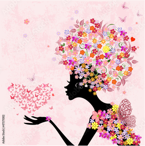 Foto op Canvas Bloemen vrouw fashion flowers girl with a heart of butterflies