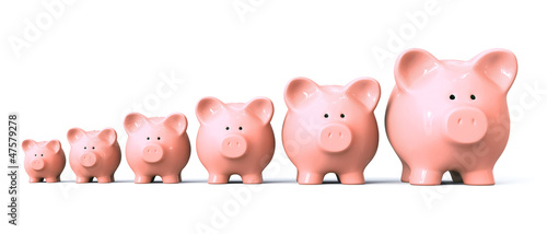 Piggy bank starting from small to big - front view Fototapet