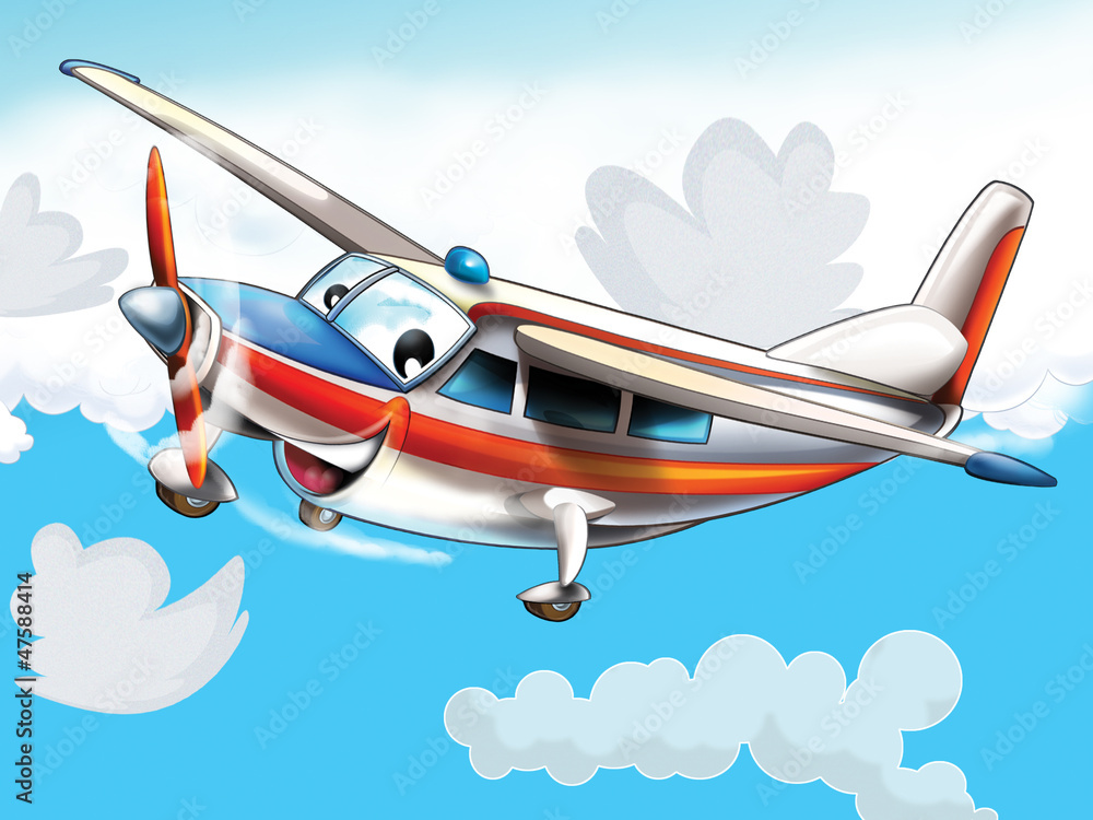 Fototapety, obrazy: Little happy, cartoon plane