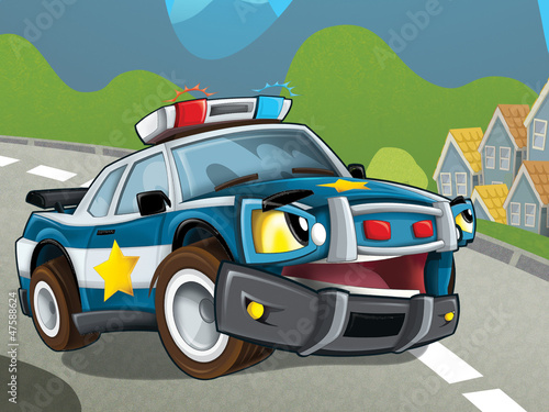 Foto op Canvas Cars The police car