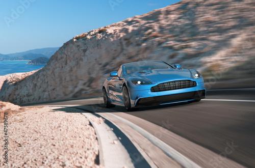 plakat blauer luxussportwagen am Berg