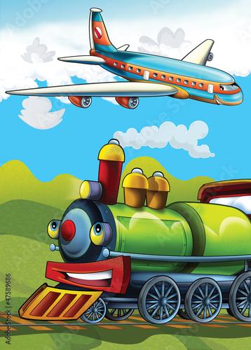 Obraz premium Lokomotywa i maszyna latająca