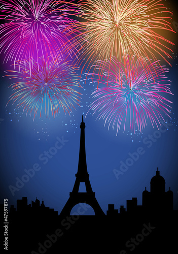 Photo Stands Eiffel Tower Happy New Year fireworks in France
