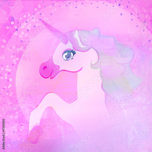 Deurstickers Pony Illustration of beautiful pink Unicorn.