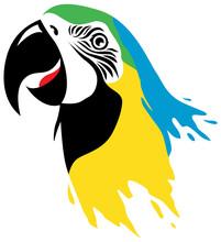 Macaw Bird Head In Paint Effect