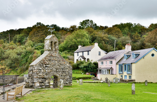 Photo sur Toile Con. Antique St. Brynach's Church and cottages, Cwm-yr-Eglwys