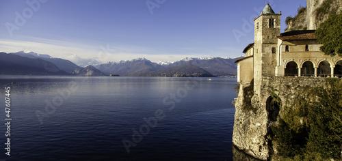 Photo  Eremo di Santa Caterina del Sasso panorama color image