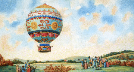 Panel Szklany Środki transportu hot air balloon illustration