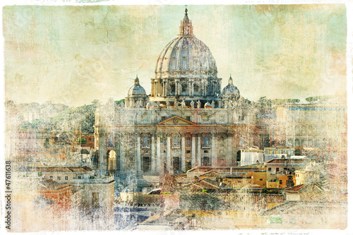 Poster Rome st Pietro, Vatican - artwork in painting style